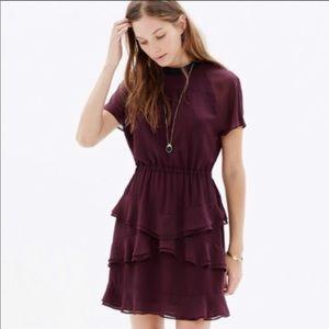 Madewell plum dress with elegant ruffles